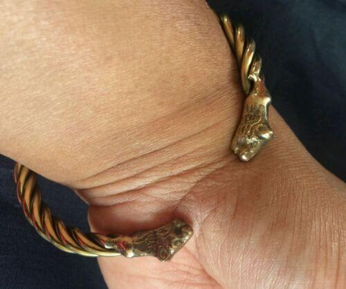 umwerfend 22 ct Gold Look klobig Messing Löwe SIKH KARA Ajustable Größe Hindu