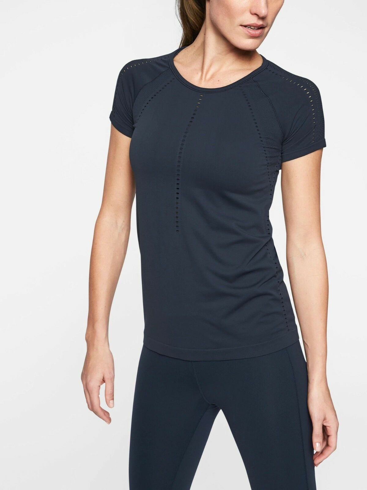 NWT Athleta Foothill Tee Short sleeves top, Navy SIZE XS         N0127