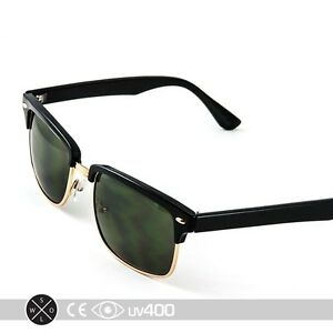 black and gold clubmaster sunglasses  Black Gold Square Half Frame Clubmaster Sunglasses Vintage Classic ...