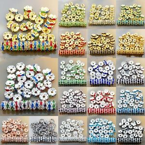 100pcs-Crystal-Rhinestone-Silver-Rondelle-Spacer-Beads-Jewelry-Findings-6mm