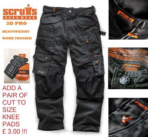Scruffs Lavoro Pantaloni 3D PRO resistente tessuto Cordura Ginocchio Pad Tasche Taglia