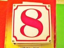 Emaille-Hausnummer Nr. 8 rote Zahl auf weißem Hintergrund 14 cm x 14 cm