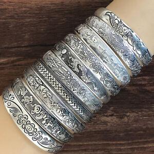 Retro-Opening-Bracelet-Jewelry-Vintage-Tibetan-Silver-Totem-Carved-Bangle-3C