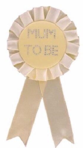 ** MUM TO BE YELLOW DIAMANTE BADGE ROSETTE BABY SHOWER PARTY CELEBRATION NEW **