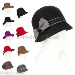 31778ac497d71 La imagen se está cargando Mujer-Lana-Vintage-Borde-Ancho-Fedora-Campana- Sombrero-