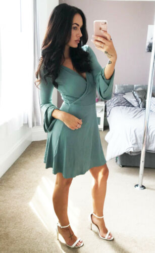 Wrap Dress Ex TopShop Ribbed Green Trumpet Flare Sleeve