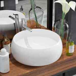 Vidaxl Lavabo Ronde Ceramique Lave Mains Vasque Evier Pour Salle