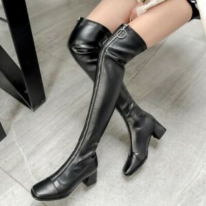 Chic Womens High Block Heel Knight Shoes Leather Over Knee Thigh Boots Pull On X