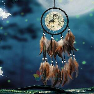 Dream-Catcher-With-Feathers-Fantasy-Wall-Art-Hanging-Decor-Ornament-Wolf-Gift-A