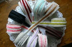 Vintage-Crochet-IVORY-Lace-with-10-COLOURS-Velvet-Centre-25mm-wide-2-Mtr-Lengths
