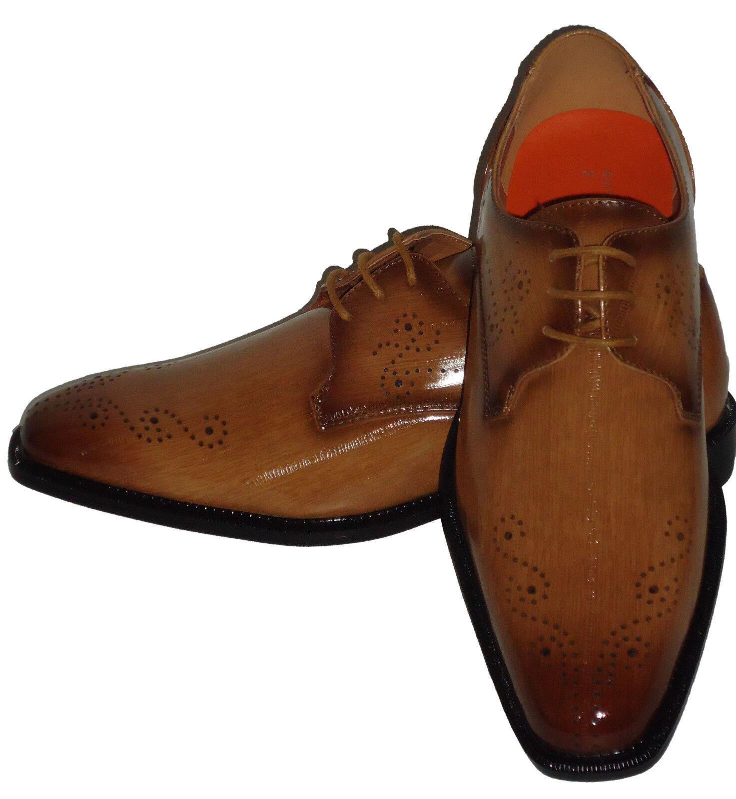 Antonio Cerrelli 6712  Uomo Faux Eel Look Dress Schuhes Elegant Camel Light Braun