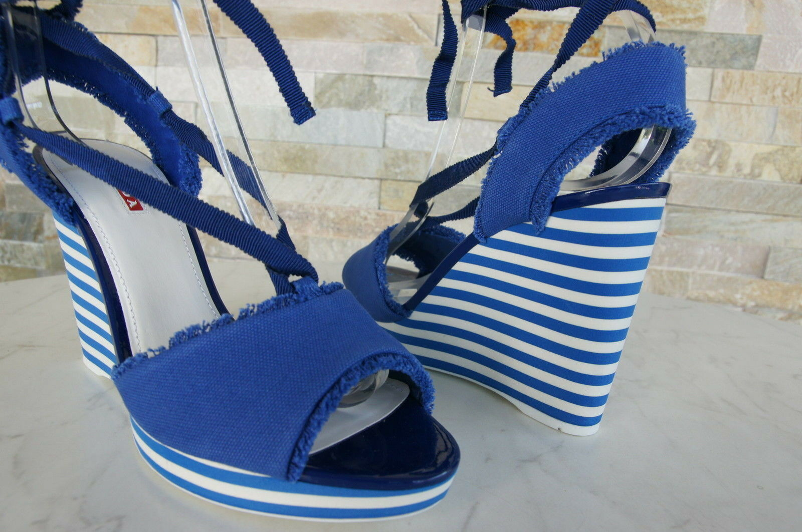 PRADA Gr 40 Keil Plateau Sandaletten Sandales Sandales Sandales Schuhe kobalt blau Blau NEU 82f3e5