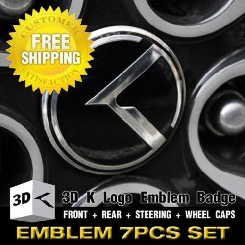 3D K Logo Emblem Set 7pcs Grill Trunk Sreering Wheel For KIA 2011-2016 Sportage