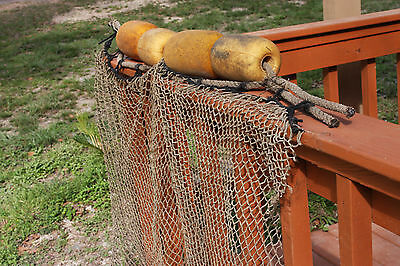 2 pc Authentic Tiki Bar Decor Weathered Fishing Net Rope Floats Set of 2
