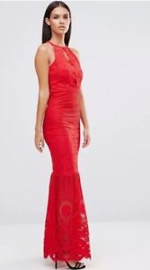 13a2b11e BNWT Lipsy Size 8 Red Lace Fishtail Maxi Dress Rrp £80 | eBay