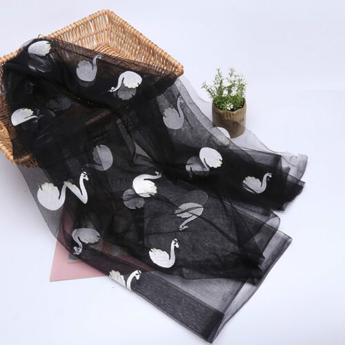 Swan Embroidery Tulle Fabric Mesh Sheer Craft Tutu Skirt Wedding Dress Cloth Sew