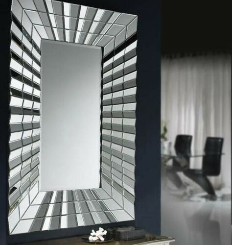 Large New Modern Stunning Fan Rectangle Decorative Silver Wall Mirror