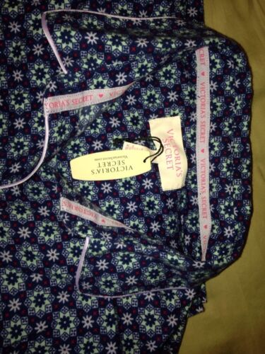 Details about  /VICTORIA/'S SECRET Navy Print Flannel Pajamas  XSmall New With Tags