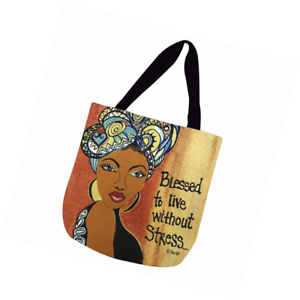 17 x 17 inches Blessed to Live Without Stress Shades of Color Woven Tote Bag