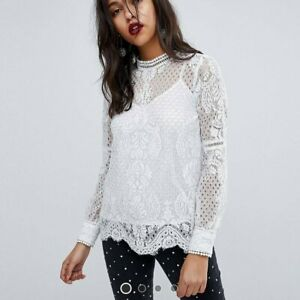 River-Island-Women-039-s-White-Cream-Grey-Lace-High-Neck-Long-Sleeve-Top-RRP-35