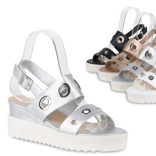 Damen Keilsandaletten Plateau Sandaletten Keilabsatz Schuhe Wedges 822294 Trendy