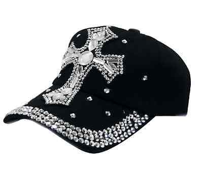 MUST SEE!  ADJUSTABLE BLACK RHINESTONE CROSS COWGIRL BLING WESTERN CAP HAT 3-26