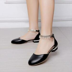 32999dd8eeb09d Vogue Womens Round Toe Beads Mary Jane Flat Shoes Lolita Sandals ...