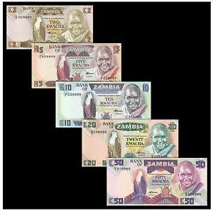 Zambia Banknote 5pcs Set (UNC) 全新 赞比亚 5张 (2,5,10,20,50克瓦查) 人头版 尾四同 #2