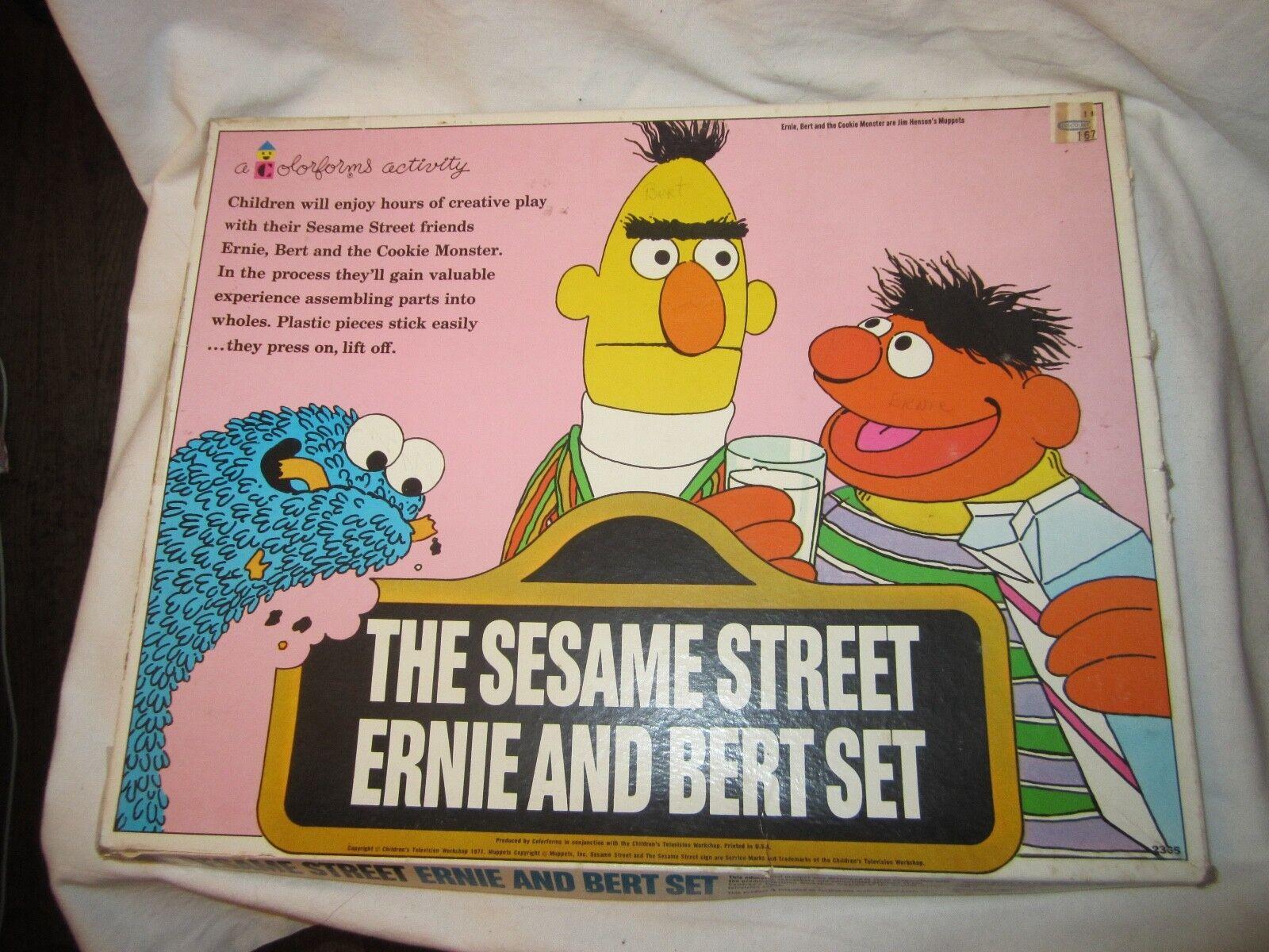 Vintage 1971 Muppets Sesame Street Ernie & Bert Set colorforms Activity