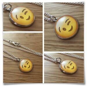 Emoji face Wink eyes smile Charm pendant necklace txt geek