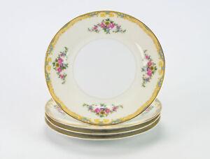 "Noritake Resilio Salad Plates 4 pc Set, Vintage Floral w Blue Yellow 7 3/4"""