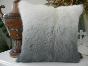 Nwt Cloud 9 Design Home 20 X 20 Slate Grey Silver Short Hair Goat Fur Pillow Ebay