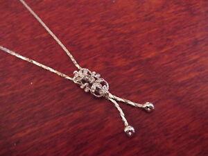 Elegantes-835-Silber-Collier-Kette-Jugendstil-Art-Deco-Vintage-Zirkonia-Pampel