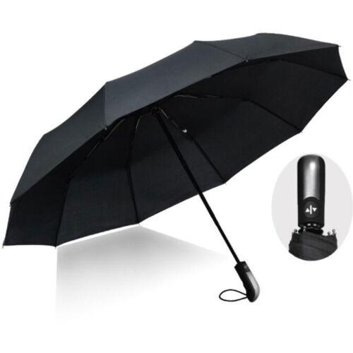 Schwarz Regenschirm Auto Open Schließen Windproof 10 Rippen Business Umbrella