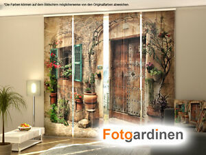 fotogardinen altes haus schiebevorhang schiebegardinen 3d fotodruck auf ma ebay. Black Bedroom Furniture Sets. Home Design Ideas