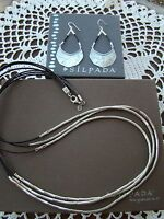 Silpada Set Leather silver Flash Necklace N2196 Earrings W3140 $228