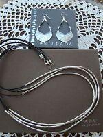 Silpada Set Leather silver Flash Necklace N2196 Earrings W3140 $228