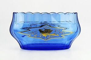 "Baccarat Large 9.5"" Antique Blue & 24k Gold Crystal Bowl Made In France Decorative Arts"