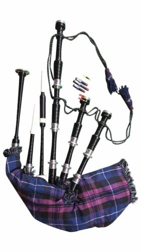 Great Highland Bagpipes Rose Wood Black Silver Mounts Scottish Bagpipe Full Set