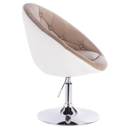 1 x Barsessel Loungesessel Sessel mit Lehne Kunstleder Khaki+Weiss BH41kkw-1