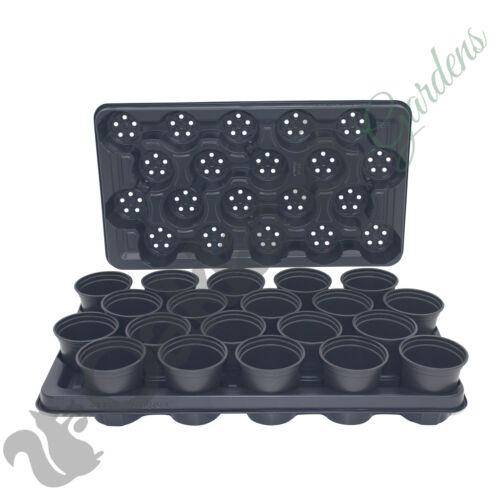 100 x 9 cm Pianta Pentole 5 x trasportare VASSOI Combo in plastica Vaso di Fiori Nero