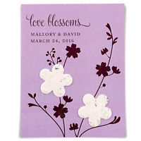 12 Personalized Love Blossoms Seed Paper Cards Bridal Shower Wedding Favors