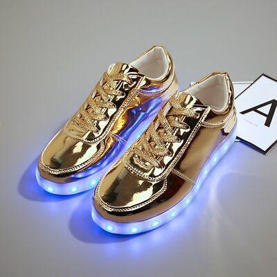 Luminous Sneakers Boys Girls Gold Led
