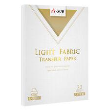 20 Sheets A Sub Printable Inkjet Light T Shirt Transfer Paper 85x11 Iron On
