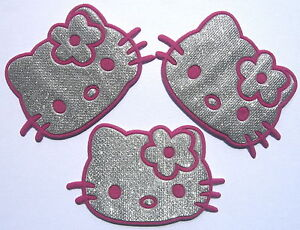 3 pcs pink silvery hello kitty iron on patches skirt hat jean punk
