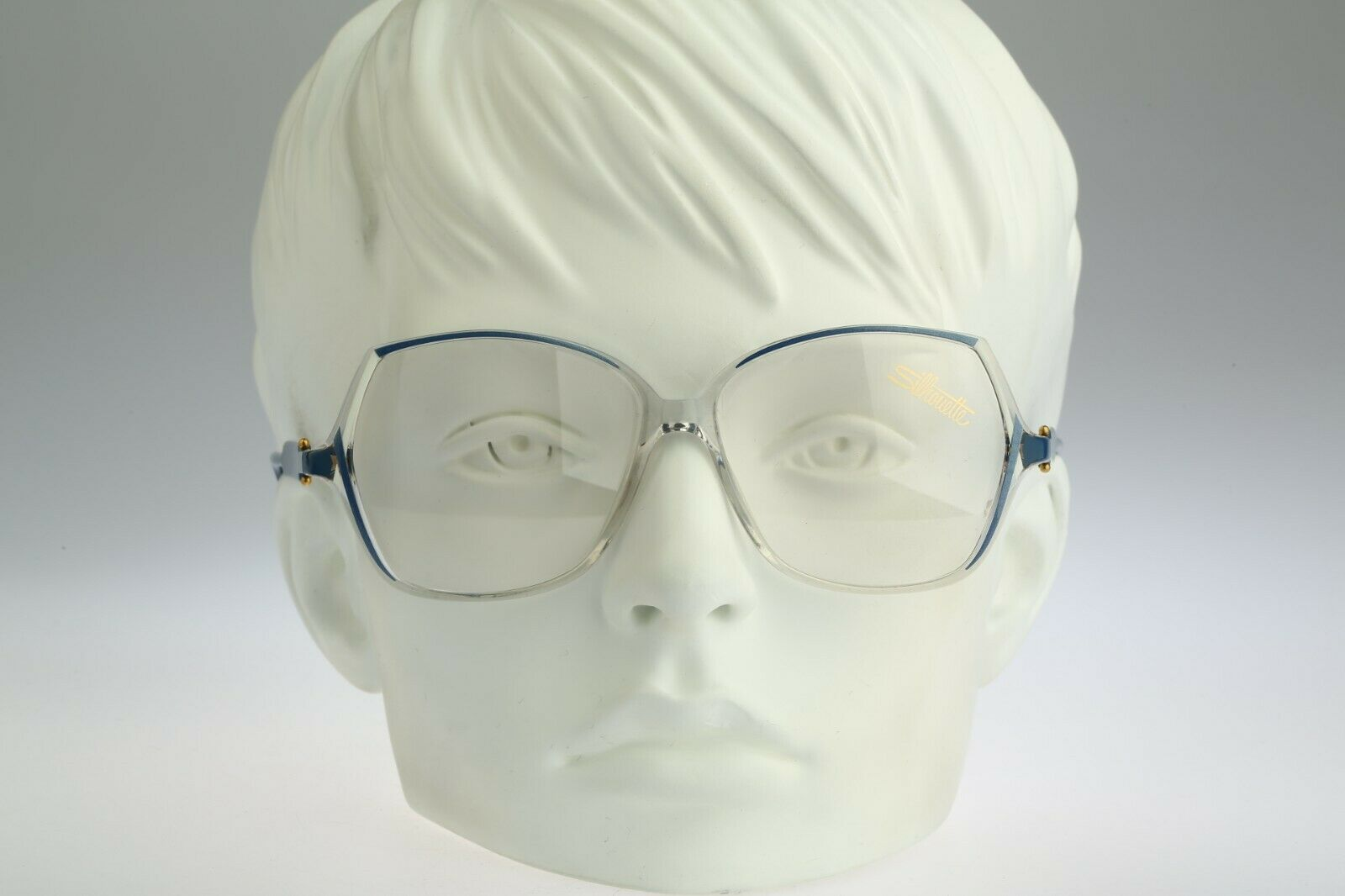 Silhouette M 1757 C 1866 Vintage 80s oversized blue & clear butterfly eyeglasses