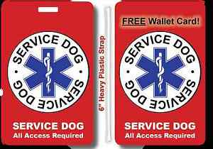 Service Dog IDs ID Badge Tag w/ Strap AND + FREE Wallet Card, Plastic CCard Size
