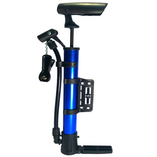 Portable Bicycle Air Pump 130PSI Bike pump Presta Schrader Valve Blue Inflator