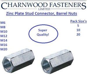ZINC-PLATED-BZP-STUD-CONNECTORS-LONG-BARREL-NUTS-M6-M8-M10-M12-M14-M16-M20