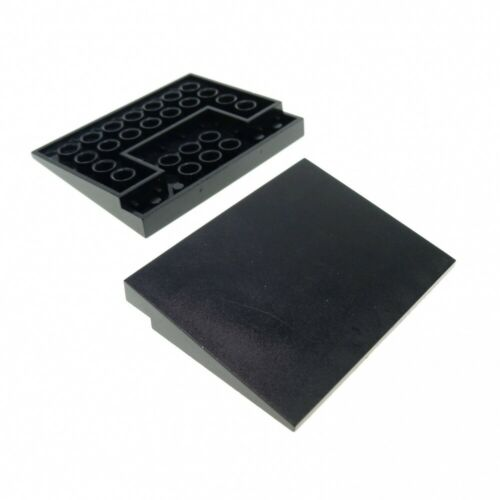 2x Lego Roof Stone Black 6x8 Roof Ramp Angled 10° Tile Plate 4515